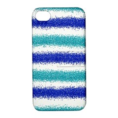 Metallic Blue Glitter Stripes Apple iPhone 4/4S Hardshell Case with Stand