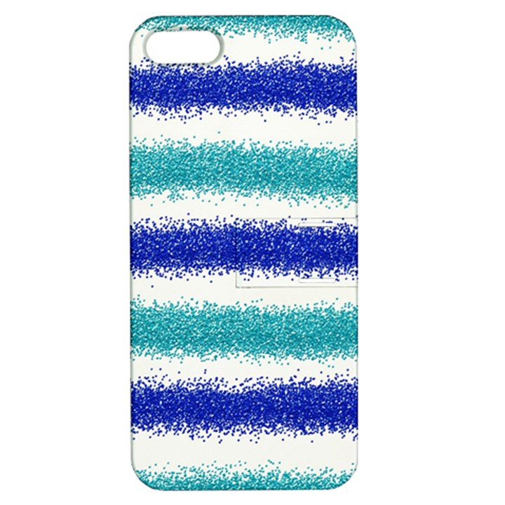 Metallic Blue Glitter Stripes Apple iPhone 5 Hardshell Case with Stand