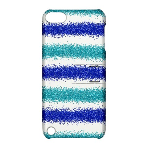 Metallic Blue Glitter Stripes Apple iPod Touch 5 Hardshell Case with Stand