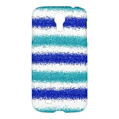 Metallic Blue Glitter Stripes Samsung Galaxy S4 I9500/I9505 Hardshell Case