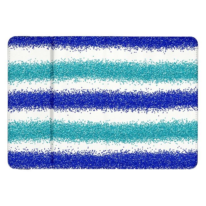 Metallic Blue Glitter Stripes Samsung Galaxy Tab 8.9  P7300 Flip Case