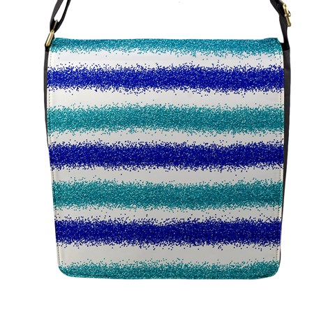 Metallic Blue Glitter Stripes Flap Messenger Bag (L)