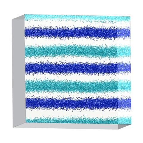 Metallic Blue Glitter Stripes 5  x 5  Acrylic Photo Blocks