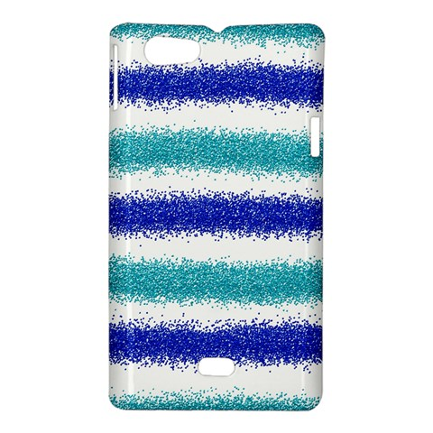 Metallic Blue Glitter Stripes Sony Xperia Miro