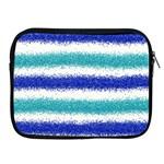 Metallic Blue Glitter Stripes Apple iPad 2/3/4 Zipper Cases Front