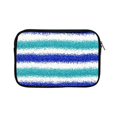 Metallic Blue Glitter Stripes Apple iPad Mini Zipper Cases