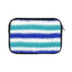 Metallic Blue Glitter Stripes Apple iPad Mini Zipper Cases Front