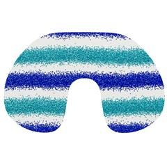 Metallic Blue Glitter Stripes Travel Neck Pillows