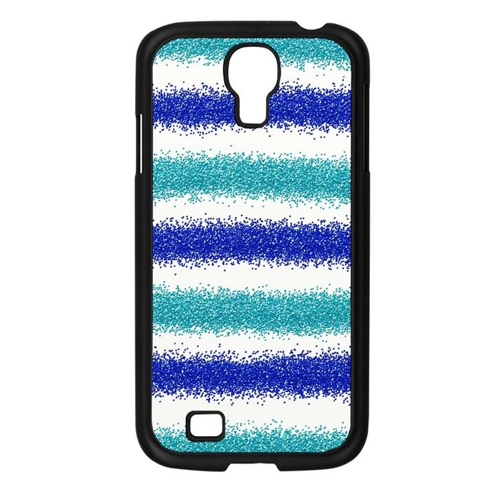 Metallic Blue Glitter Stripes Samsung Galaxy S4 I9500/ I9505 Case (Black)