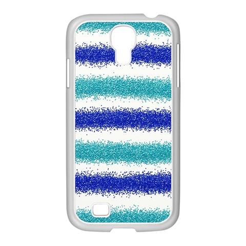 Metallic Blue Glitter Stripes Samsung GALAXY S4 I9500/ I9505 Case (White)