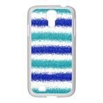 Metallic Blue Glitter Stripes Samsung GALAXY S4 I9500/ I9505 Case (White) Front