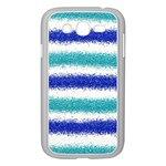 Metallic Blue Glitter Stripes Samsung Galaxy Grand DUOS I9082 Case (White) Front