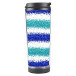 Metallic Blue Glitter Stripes Travel Tumbler Center