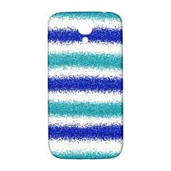 Metallic Blue Glitter Stripes Samsung Galaxy S4 I9500/I9505  Hardshell Back Case