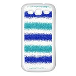 Metallic Blue Glitter Stripes Samsung Galaxy S3 Back Case (White) Front