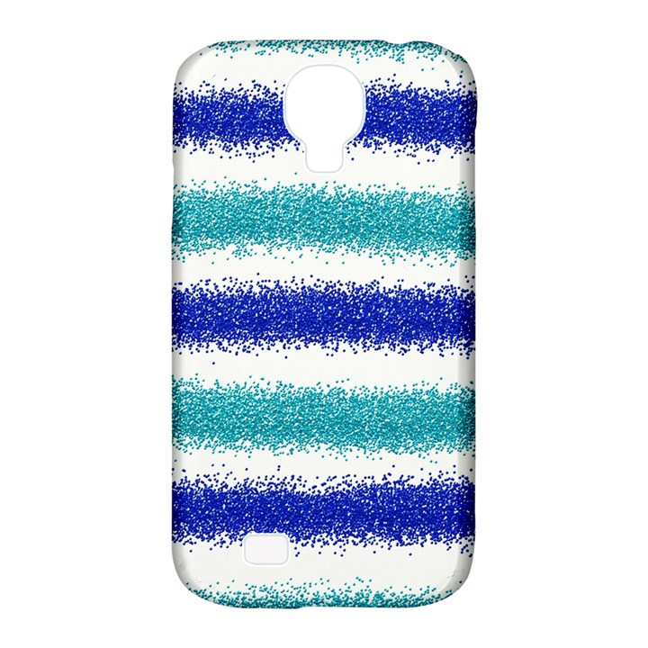 Metallic Blue Glitter Stripes Samsung Galaxy S4 Classic Hardshell Case (PC+Silicone)