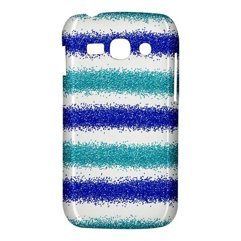 Metallic Blue Glitter Stripes Samsung Galaxy Ace 3 S7272 Hardshell Case