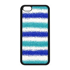 Metallic Blue Glitter Stripes Apple iPhone 5C Seamless Case (Black)