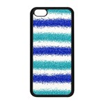 Metallic Blue Glitter Stripes Apple iPhone 5C Seamless Case (Black) Front