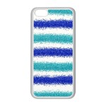 Metallic Blue Glitter Stripes Apple iPhone 5C Seamless Case (White) Front