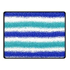 Metallic Blue Glitter Stripes Double Sided Fleece Blanket (Small)
