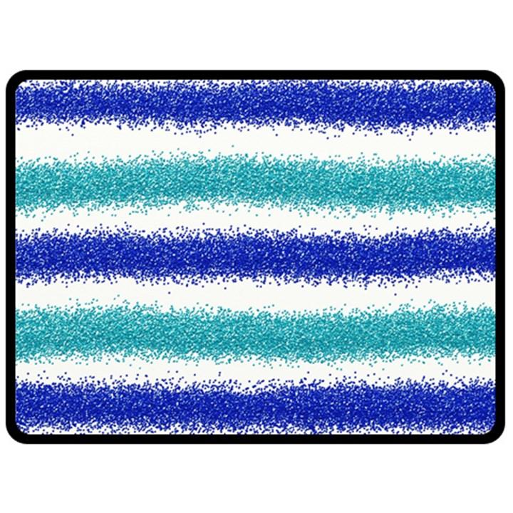 Metallic Blue Glitter Stripes Double Sided Fleece Blanket (Large)