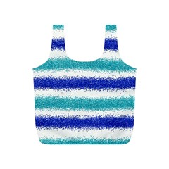 Metallic Blue Glitter Stripes Full Print Recycle Bags (S)