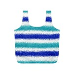 Metallic Blue Glitter Stripes Full Print Recycle Bags (S)  Back