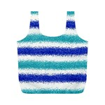 Metallic Blue Glitter Stripes Full Print Recycle Bags (M)  Front