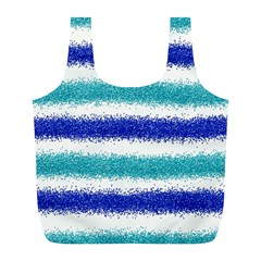 Metallic Blue Glitter Stripes Full Print Recycle Bags (L)