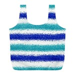 Metallic Blue Glitter Stripes Full Print Recycle Bags (L)  Front