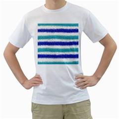 Metallic Blue Glitter Stripes Men s T-Shirt (White)
