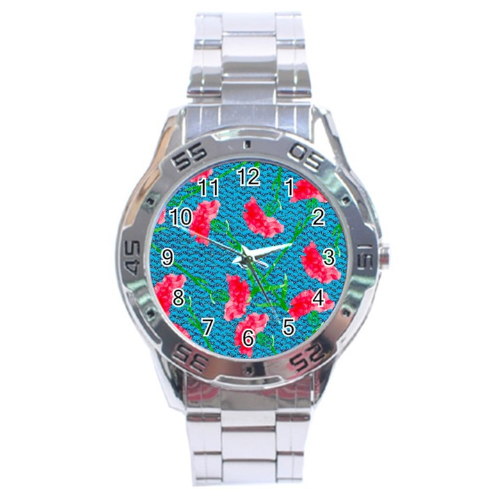 Carnations Stainless Steel Analogue Watch