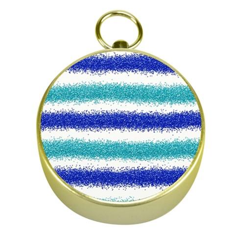 Metallic Blue Glitter Stripes Gold Compasses
