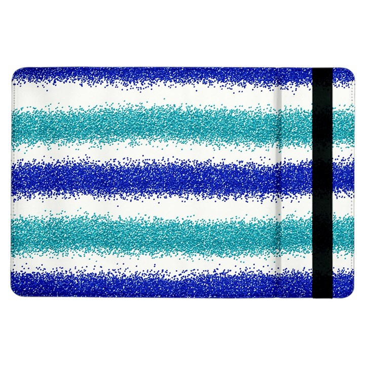Metallic Blue Glitter Stripes iPad Air Flip