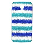 Metallic Blue Glitter Stripes Samsung Galaxy S5 Back Case (White) Front