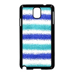 Metallic Blue Glitter Stripes Samsung Galaxy Note 3 Neo Hardshell Case (Black)