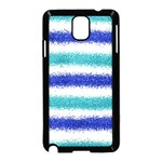Metallic Blue Glitter Stripes Samsung Galaxy Note 3 Neo Hardshell Case (Black) Front