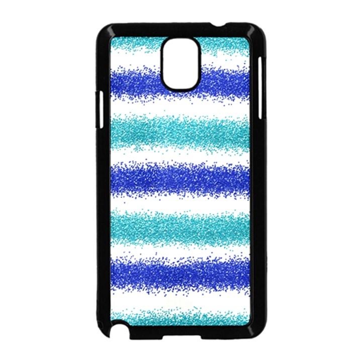 Metallic Blue Glitter Stripes Samsung Galaxy Note 3 Neo Hardshell Case (Black)
