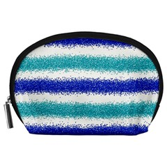 Metallic Blue Glitter Stripes Accessory Pouches (Large)