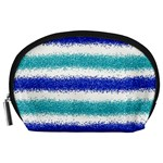 Metallic Blue Glitter Stripes Accessory Pouches (Large)  Front