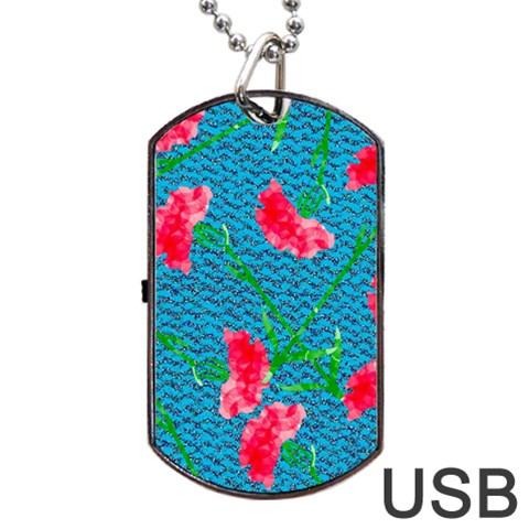 Carnations Dog Tag USB Flash (One Side)