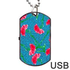 Carnations Dog Tag USB Flash (One Side)