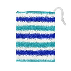 Metallic Blue Glitter Stripes Drawstring Pouches (Large)
