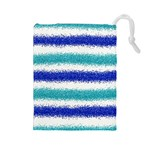 Metallic Blue Glitter Stripes Drawstring Pouches (Large)  Front