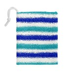 Metallic Blue Glitter Stripes Drawstring Pouches (Large)  Back