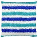 Metallic Blue Glitter Stripes Large Flano Cushion Case (One Side) Front