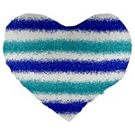 Metallic Blue Glitter Stripes Large 19  Premium Flano Heart Shape Cushions Front
