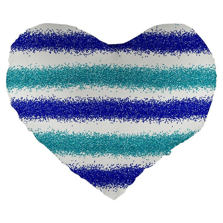 Metallic Blue Glitter Stripes Large 19  Premium Flano Heart Shape Cushions