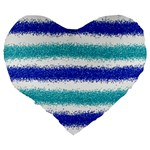 Metallic Blue Glitter Stripes Large 19  Premium Flano Heart Shape Cushions Back